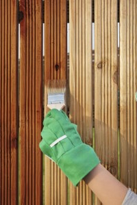 Applying protective varnish on a wooden fence